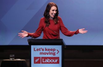 New Zealand Prime Minister Jacinda Ardern speaks at the Labour Election Day party after the Labour Party won New Zealand's general election in Auckland on October 16, 2020. (Photo by MICHAEL BRADLEY / AFP)