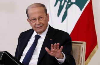 """A handout picture provided by the Lebanese photo agency Dalati and Nohra on October 21, 2020 shows Lebanese President Michel Aoun holding a televised press conference at the presidential palace in Baabda, east of the capital Beirut. - Crisis-hit Lebanon's next prime minister, the third in a year, will have to spearhead reforms and battle corruption, President Michel Aoun said. (Photo by - / DALATI AND NOHRA / AFP) / === RESTRICTED TO EDITORIAL USE - MANDATORY CREDIT """"AFP PHOTO / HO / DALATI AND NOHRA"""" - NO MARKETING - NO ADVERTISING CAMPAIGNS - DISTRIBUTED AS A SERVICE TO CLIENTS ==="""