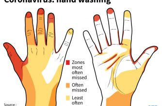 Zones most often missed when washing your hands. A new study shows the coronavirus survives on skin five times longer than flu which emphasised the need for frequent hand washing, the Japanese researchers said.  (SOPHIE RAMIS / AFP)