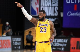 ORLANDO, FL - OCTOBER 6: LeBron James #23 of the Los Angeles Lakers looks on during the game against the Miami Heat during Game Four of the NBA Finals on October 6, 2020 at The AdventHealth Arena at ESPN Wide World Of Sports Complex in Orlando, Florida. NOTE TO USER: User expressly acknowledges and agrees that, by downloading and/or using this Photograph, user is consenting to the terms and conditions of the Getty Images License Agreement. Mandatory Copyright Notice: Copyright 2020 NBAE   Andrew D. Bernstein/NBAE via Getty Images/AFP