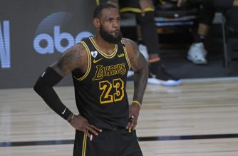 ORLANDO, FL - OCTOBER 2: LeBron James #23 of the Los Angeles Lakers looks on during Game Two of the NBA Finals on October 2, 2020 in Orlando, Florida at AdventHealth Arena. NOTE TO USER: User expressly acknowledges and agrees that, by downloading and/or using this Photograph, user is consenting to the terms and conditions of the Getty Images License Agreement. Mandatory Copyright Notice: Copyright 2020 NBAE   Fernando Medina/NBAE via Getty Images/AFP