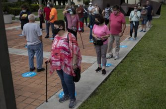 WESTCHESTER, FLORIDA - OCTOBER 19: Voters wait in line, socially distanced from each other, to cast their early ballots at the Westchester Regional Library polling station on October 19, 2020 in Westchester, Florida. The early voting ends on Nov. 1. Voters are casting their ballots for presidential candidates President Donald Trump and Democratic presidential nominee Joe Biden.   Joe Raedle/Getty Images/AFP