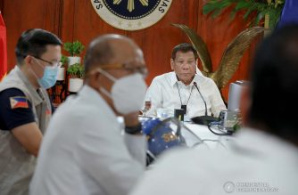 President Rodrigo Roa Duterte talks to the people after holding a meeting with the Inter-Agency Task Force on the Emerging Infectious Diseases (IATF-EID) core members at the Malacañang Golf (Malago) Clubhouse in Malacañang Park, Manila on October 14, 2020. ROBINSON NIÑAL/ PRESIDENTIAL PHOTO