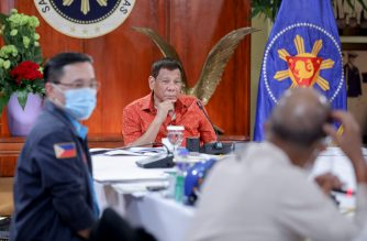 President Rodrigo Roa Duterte presides over a meeting with the Inter-Agency Task Force on the Emerging Infectious Diseases (IATF-EID) core members prior to his talk to the people at the Malacañang Golf (Malago) Clubhouse in Malacañang Park, Manila on October 19, 2020.