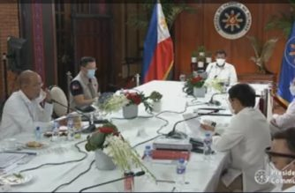 President Duterte met with Cabinet officials and members of the Inter-Agency Task Force for the Management of Emerging Infectious Diseases late Wednesday night to talk about the country's COVID-19 response./PCOO/