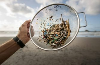 A volunteer of the NGO 'Canarias Libre de Plasticos' (Canary Islands free of plastics) carries out a collection of microplastics and mesoplastic debris to clean the Almaciga Beach, on the north coast of the Canary Island of Tenerife, on July 14, 2018. (AFP photo)