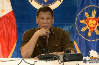 President Rodrigo Duterte addresses the nation in a televised message on Tuesday, Oct. 27, 2020. Screengrab of PCOO/RTVM/ Courtesy PCOO