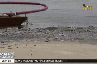 Ilang basura at water hyacinth naanod sa Manila Bay white sand beach dahil sa bagyong Pepito
