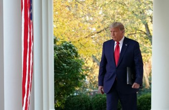 "US President Donald Trump arrives to deliver an update on ""Operation Warp Speed"" in the Rose Garden of the White House in Washington, DC on November 13, 2020. (Photo by MANDEL NGAN / AFP)"