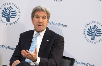 (FILES) In this file photo taken on January 10, 2017 US Secretary of State John Kerry participates in a conference on the transition of the US presidency from Barack Obama to Donald Trump at the US Institute Of Peace in Washington DC. - US President-elect Joe Biden annonced on November 23, 2020 the nomination of former US Secretary of State John Kerry to serve as Special Presidential Envoy for Climate. (Photo by CHRIS KLEPONIS / GETTY IMAGES NORTH AMERICA / AFP)