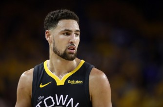 OAKLAND, CALIFORNIA - JUNE 13: Klay Thompson #11 of the Golden State Warriors reacts against the Toronto Raptors in the first half during Game Six of the 2019 NBA Finals at ORACLE Arena on June 13, 2019 in Oakland, California. NOTE TO USER: User expressly acknowledges and agrees that, by downloading and or using this photograph, User is consenting to the terms and conditions of the Getty Images License Agreement.   Ezra Shaw/Getty Images/AFP