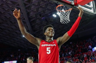 ATHENS, GA - FEBRUARY 19: Anthony Edwards #5 of the Georgia Bulldogs gestures to the crowd in the final minutes a of a game against the Auburn Tigers at Stegeman Coliseum on February 19, 2020 in Athens, Georgia.   Carmen Mandato/Getty Images/AFP