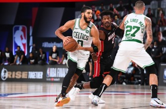 ORLANDO, FL - SEPTEMBER 27: Jayson Tatum #0 of the Boston Celtics handles the ball against the Miami Heat during Game Six of the Eastern Conference Finals on September 27, 2020 in Orlando, Florida at AdventHealth Arena. NOTE TO USER: User expressly acknowledges and agrees that, by downloading and/or using this Photograph, user is consenting to the terms and conditions of the Getty Images License Agreement. Mandatory Copyright Notice: Copyright 2020 NBAE   Garrett Ellwood/NBAE via Getty Images/AFP