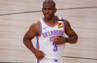 LAKE BUENA VISTA, FLORIDA - AUGUST 24: Chris Paul #3 of the Oklahoma City Thunder runs up court against the Houston Rockets during the first quarter in Game Four of the Western Conference First Round during the 2020 NBA Playoffs at AdventHealth Arena at ESPN Wide World Of Sports Complex on August 24, 2020 in Lake Buena Vista, Florida. NOTE TO USER: User expressly acknowledges and agrees that, by downloading and or using this photograph, User is consenting to the terms and conditions of the Getty Images License Agreement.   Kevin C. Cox/Getty Images/AFP