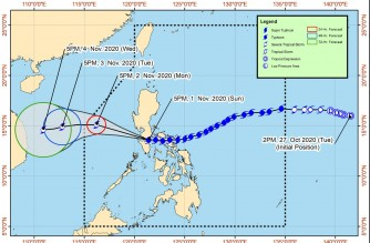 Typhoon Rolly further weakens and is now over West PHL Sea; NCR under Signal no. 1