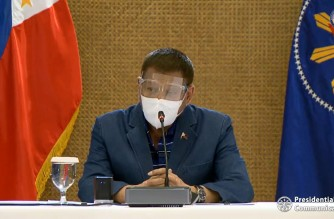 President Rodrigo Duterte leads meeting of the Inter-Agency Task Force on Emerging Infectious Diseases on Saturday night, Dec. 26, 2020 to discuss the threat of the more infectious COVID-19 virus strain found in the United Kingdom, which has already spread in other countries.  (Screenshot of PCOO/RTVM video/Courtesy PCOO)