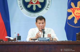 President Rodrigo Roa Duterte talks to the people after holding a meeting with the Inter-Agency Task Force on the Emerging Infectious Diseases (IATF-EID) core members at the Malacañang Golf (Malago) Clubhouse in Malacañang Park, Manila on December 7, 2020. KARL NORMAN ALONZO/ PRESIDENTIAL PHOTO