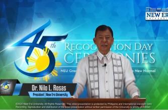 Dr. Nilo Rosas, New Era University President speaking during the university's commencement exercises done via videostreaming/Courtesy New Era University