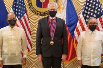 Acting U.S. Secretary of Defense Christopher Miller announces the recent transfer of Php1.4 billion ($29.3 million) in defense articles, including sniper and anti-IED equipment, to senior Philippine military officials. (Photo courtesy US Embassy)