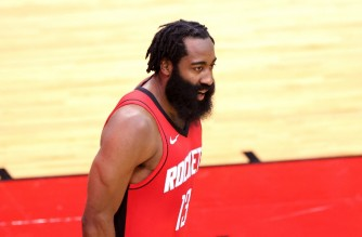 HOUSTON, TEXAS - JANUARY 10: James Harden #13 of the Houston Rockets in action against the Los Angeles Lakers during a game at Toyota Center on January 10, 2021 in Houston, Texas. NOTE TO USER: User expressly acknowledges and agrees that, by downloading and or using this photograph, User is consenting to the terms and conditions of the Getty Images License Agreement.   Carmen Mandato/Getty Images/AFP