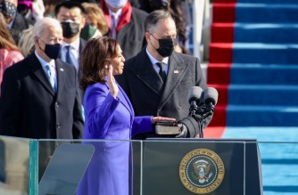 WASHINGTON, DC - JANUARY 20: Kamala Harris is sworn is as U.S. Vice President at the inauguration of U.S. President-elect Joe Biden on the West Front of the U.S. Capitol on January 20, 2021 in Washington, DC. During today's inauguration ceremony Joe Biden becomes the 46th president of the United States.   Rob Carr/Getty Images/AFP