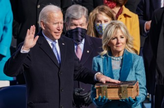 WASHINGTON, DC - JANUARY 20: Joe Biden is sworn in as U.S. President during his inauguration on the West Front of the U.S. Capitol on January 20, 2021 in Washington, DC. During today's inauguration ceremony Joe Biden becomes the 46th president of the United States.   Alex Wong/Getty Images/AFP