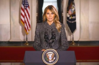 """Melania Trump posts a farewell message to Twitter, in which she says it has been """"the greatest honor"""" to serve as the First Lady of the United States.  (Screenshot of AFPTV video/Courtesy Agence France Presse)"""