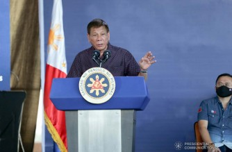 President Rodrigo Roa Duterte delivers his speech during the inauguration of the Metro Manila Skyway Stage 3 Project at the Del Monte Toll Plaza in Quezon City on January 14, 2021. SIMEON CELI/ PRESIDENTIAL PHOTO