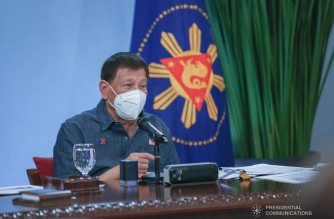 President Rodrigo Roa Duterte talks to the people after holding a meeting with the Inter-Agency Task Force on the Emerging Infectious Diseases (IATF-EID) core members at the Malacañang Golf (Malago) Clubhouse in Malacañang Park, Manila on January 18, 2021. SIMEON CELI/ PRESIDENTIAL PHOTO