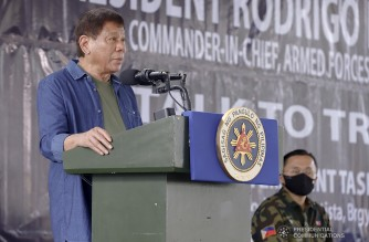 President Rodrigo Roa Duterte delivers his speech during a visit at Kuta Heneral Teodulfo Bautista Headquarters in Jolo, Sulu on January 22, 2021. The President also witnessed the ceremonial distribution of food packs, conferment of the Order of Lapu-Lapu with the rank of Kamagi to 23 soldiers and turned over a cheque to Armed Forces of the Philippines Chief of Staff General Gilbert Gapay. REY BANIQUET/ PRESIDENTIAL PHOTO
