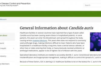 Screenshot of Centers for Disease Control website/See https://www.cdc.gov/fungal/candida-auris/candida-auris-qanda.html)