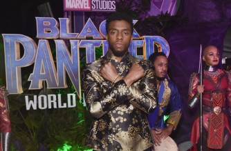 """(FILES) In this file photo taken on January 28, 2018 actor Chadwick Boseman at the Los Angeles World Premiere of Marvel Studios' BLACK PANTHER at Dolby Theatre in Hollywood, California. - Disney is developing a """"Black Panther"""" television series set in the fictional African kingdom of Wakanda as part of a massive new five-year content deal with director Ryan Coogler, the company said February 1, 2021. Global smash hit film """"Black Panther"""" starring the late Chadwick Boseman was adored by critics and audiences, becoming the first comic book movie to be nominated for best picture at the Oscars, and grossing over $1 billion worldwide. (Photo by Alberto E. Rodriguez / GETTY IMAGES NORTH AMERICA / AFP)"""
