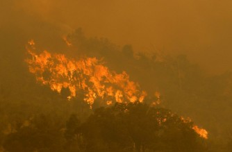 A fire driven by strong winds burns on a ridge in the suburb of Brigadoon in Perth on February 2, 2021, forcing emergency evacuations just days after the west coast city entered a coronavirus lockdown. (Photo by Trevor Collens / AFP)