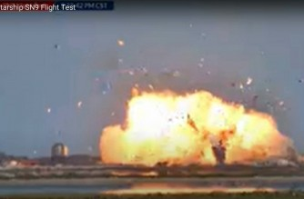 """This still image taken from a Space X video shows the Starship SN9 exploding on landing as the company conducts a test flight on February 2, 2021, near Boca Chica, Texas. - The SpaceX prototype rocket crash landed and exploded in flames at the conclusion of a test flight on February 2, 2021, footage broadcast by the company showed. It was the second such explosion after the last prototype met a similar fate in December. (Photo by - / SPACEX / AFP) / RESTRICTED TO EDITORIAL USE - MANDATORY CREDIT """"AFP PHOTO / SpaceX"""" - NO MARKETING - NO ADVERTISING CAMPAIGNS - DISTRIBUTED AS A SERVICE TO CLIENTS"""