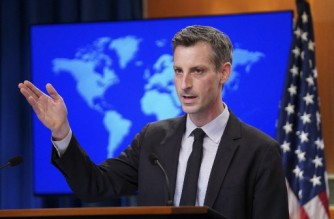 US State Department Spokesperson Ned Price holds a news briefing at the State Department in Washington, DC, on February 17, 2021. (Photo by KEVIN LAMARQUE / POOL / AFP)