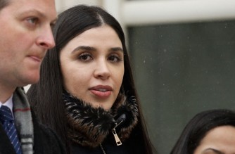 "(FILES) In this file photo Emma Coronel Aispuro,(C) wife of Joaquin 'El Chapo' Guzman leaves from the US Federal Courthouse after a verdict was announced at the trial for Joaquin 'El Chapo' Guzman on February 12, 2019 in Brooklyn, New York. - US authorities arrested the wife of jailed Mexican drug lord Joaquin ""El Chapo"" Guzman Loera February 22 as she arrived at Dulles International Airport outside of Washington, the Justice Department said. Emma Coronel Aispuro, 31, faces charges of conspiracy to traffick cocaine, methamphetamine, heroin and marijuana for importation into the United States, it said. (Photo by KENA BETANCUR / AFP)"