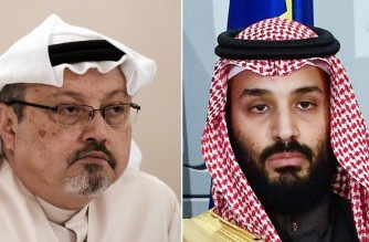 (COMBO) This combination of pictures created on June 20, 2019 shows a file photo taken on December 15, 2014 of Saudi journalist Jamal Khashoggi (L) during a press conference in the Bahraini capital Manama and a file photo taken on April 12, 2018 of Saudi Arabia's crown prince Mohammed bin Salman poses at La Moncloa palace in Madrid. - The US director of national intelligence is expected to release a damning report today on February 26, 2021 that fingers Saudi Crown Prince Mohammed bin Salman for the brutal murder and dismemberment of dissident journalist Jamal Khashoggi in October 2018. (Photo by MOHAMMED AL-SHAIKH and OSCAR DEL POZO / AFP)