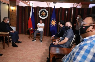President Duterte met with PNP and PDEA officials on Friday, Feb. 26, to discuss the PNP-PDEA shootout on Wednesday, Feb. 24./Senator Bong Go/via Meanne Corvera/
