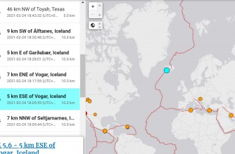 Screenshot of USGS website showing the 5.6 magnitude quake that rocked the area on Wednesday, Feb, 24, 2021 (Courtesy USGS)