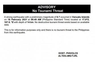 PHIVOLCS says no tsunami threat to PHL following strong Vanuatu earthquake