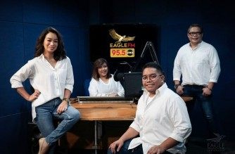 Disc jockeys of Eagle FM 95.5 at the FM station's radio booth (Photo courtesy Eagle FM 95.5)