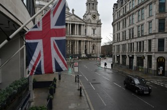 A Union flag flies from a building on Ludgate Hill in central London as Britain is in its third lockdown due to the coronavirus on January 12, 2021. - People who flout coronavirus lockdown rules are putting lives at risk, the British government said today, as cases surge to record highs and rumours swirl of potentially tougher restrictions. (Photo by JUSTIN TALLIS / AFP)