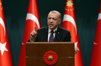 Turkish President Recep Tayyip Erdogan makes a speech as he holds a press conference following the cabinet meeting at the Presidential Complex in Ankara, on February 1, 2021. - President Recep Tayyip Erdogan said on February 1 it may be time for Turkey to adopt a new constitution, feeding speculation that he could seek a way to extend his rule. (Photo by Adem ALTAN / AFP)