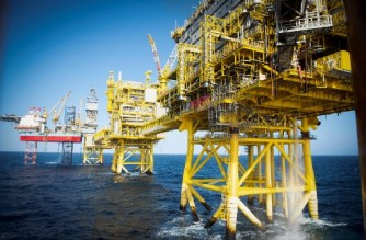 (FILES) In this file photo taken on April 08, 2019 The Total Culzean platform is pictured on the North Sea, about 45 miles (70 kilometres) east of the Aberdeen, Europe's self-proclaimed oil capital on Scotland's northeast coast. - The oil giant Total does not anticipate a drop in demand for hydrocarbons before 2030, its CEO said on February 23, 2021, at the International Petroleum Week conference on Tuesday, and intends to support it by increasing its production over the period. (Photo by ANDY BUCHANAN / AFP)