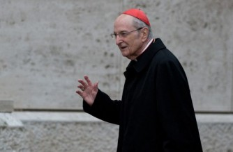 (FILES) This file photo taken on March 11, 2013 shows German cardinal Joachim Meisner as he arrived for a meeting on the eve of the start of a conclave at the Vatican. - An independent study commissioned by the Roman Catholic Church released on March 18, 2021 has uncovered hundreds of cases of sexual violence allegedly committed by clergy and laymen in Germany's top diocese. Most of the allegations cover the tenure of Cardinal Joachim Meisner, who died in 2017. (Photo by JOHANNES EISELE / AFP)