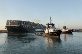 """A handout picture released by the Suez Canal Authority on March 29, 2021 shows tugboats pulling the Panama-flagged MV 'Ever Given' (operated by Taiwan-based Evergreen Marine) container ship, a 400-metre- (1,300-foot-)long and 59-metre wide vessel, lodged sideways impeding traffic across Egypt's Suez Canal waterway. - Egypt's Suez Canal Authority said on March 29 the Ever Given container ship, which has been blocking the crucial waterway for nearly a week, has been """"reorientated 80 percent in the right direction"""". Once it is refloated, it will take three and a half days to clear a traffic jam of hundreds of vessels, authorities said. Over 300 ships are currently waiting to travel through the canal. (Photo by - / SUEZ CANAL AUTHORITY / AFP)"""