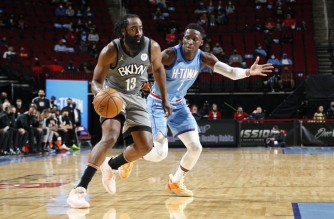 HOUSTON, TX - MARCH 3: James Harden #13 of the Brooklyn Nets handles the ball during the game against the Houston Rockets on March 3, 2021 at the Toyota Center in Houston, Texas. NOTE TO USER: User expressly acknowledges and agrees that, by downloading and or using this photograph, User is consenting to the terms and conditions of the Getty Images License Agreement. Mandatory Copyright Notice: Copyright 2021 NBAE   Troy Fields/NBAE via Getty Images/AFP (Photo by Troy Fields / NBAE / Getty Images / Getty Images via AFP)