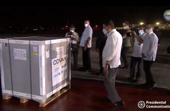 President Rodrigo Duterte views one of the crates containing the doses of AstraZeneca vaccines which arrived in the country on Thursday night, March 4, 2021 (Screenshot of PCOO video/Courtesy PCOO)