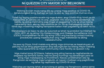 Statement of Quezon City Mayor Joy Belmonte who announced that she again tested positive for COVID-19 (Courtesy QC government)