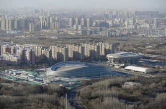 "(FILES) In this file photo a general view shows the National Speed Skating Oval, also known as the 'Ice Ribbon', the venue for speed skating events at the 2022 Winter Olympics, in Beijing on February 3, 2021, a year before the opening of the Games on February 4, 2022. - The United States Olympic and Paralympic Committee (USOPC) stated its opposition to a boycott of the 2022 Beijing Winter Olympics on April 7, 2021, saying athletes should not be used as ""political pawns.""  In remarks to reporters ahead of a US Olympic team media event, USOPC president Susanne Lyons said the organisation firmly believed that boycotts were ineffective.""We at the USOPC oppose athlete boycotts because they've been shown to negatively impact athletes while not effectively addressing global issues,"" Lyons said. (Photo by WANG Zhao / AFP)"